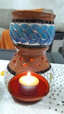 Mosaic Hand Made Clay Oil Burner With 2 Free Gifts with Candle + Incense Sample