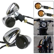 AU! 4x Chrome Motorcycle Turn Signal LED Indicator Light For Honda Yamaha Suzuki