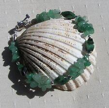 "Green Agate & Green Aventurine Crystal Gemstone Bracelet ""Woodland Glen"""