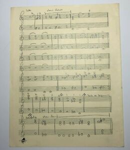 """John Entwistle of The Who Handwritten Title & Music Notes to """"Slow Down"""" w/ COA"""