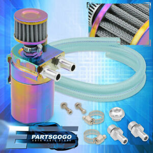 Universal Turbo Oil Catch Can Reservoir 200ML Dipstick Breather Filter Neochrome