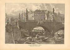 Berlin, Kaiser Wilhelm Bridge, Riverside Fish Monger, 1889 German Antique Print
