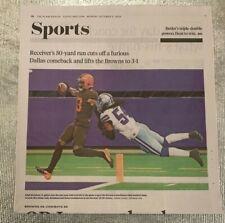 Cleveland Browns 10/5/2020 Cleveland Plain Dealer Newspaper vs Dallas Cowboys