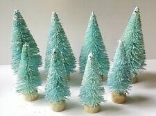 Lot 8 Mini Aqua Blue Light Teal Miniature Sisal Bottle Brush Christmas Trees