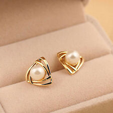 New 18K White Gold Plated Genuine Freshwater Pearl Drop Stud Earrings Wedding