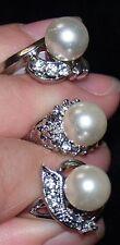 Wholesale 3pcs lots Glass Pearl Rhinestone Rings #1