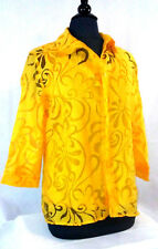 Elementz Women's Button Down Top Large Yellow 2 Piece 3/4 Sleeves