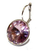 Swarovski Elements Light Pink Bella Earrings Silver Plated Dangle Earrings