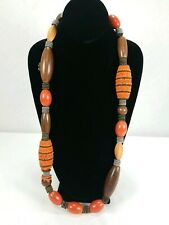 CHICO'S BOHO Brown Orange Wood Shell MultiColor Bronze Beaded STATEMENT NECKLACE