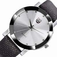 Men's Luxury Leather Stainless Steel Sports Analog Quartz Wrist Watch Waterproof