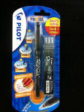 1 Pluma 3 Recargas PILOT FRIXION BALL 0.7mm Tinta negra de recarga & Pluma borrable