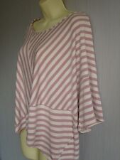 Pink And Stone Striped, Off the shoulder Square Slouch Tee Shirt Sz S NEW (£49)