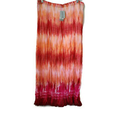 Chicos Womens Skirt Valayna Crinkle Maxi Red Pink Orange Size 2 Large NWT $119