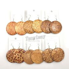 Mixed Lot Leopard Pattern 50mm Wood Earrings Bohemian Style 24 Pairs Free Ship