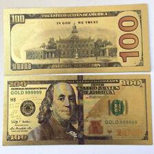 10pcs 1:1 New Gold Foil Golden USD $100 dollar Paper Money Banknotes Crafts Hot