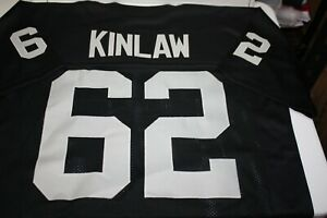 REGGIE KINLAW #62 SEWN STITCHED BLACK HOME JERSEY SIZE XLG