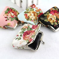 Retro Women Small Wallet Bags Flower Coin Change PurseHasp Clutch  Canvas Wallet
