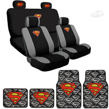 Ultimate Superman Car Seat Covers POW! Logo Headrest Covers Mat Set For Mercedes