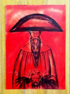 """RAFAEL CORONEL 20"""" x 17.5"""" OIL ON THICK PAPER SIGNED PAINTING"""