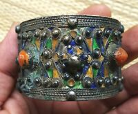 Bracelet Argent Ancien Corail Email Kabyle Antique Moroccan Berber Silver Bangle