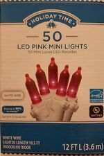 NEW Holiday Time 50 PK PINK LED Mini Lights on White Wire 13.5 FT L wedding