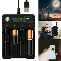 4 Slot 18650 Li-ion Battery Charger USB Fast Charge Dual for 3.7V 10440 18350 UK