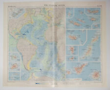 The Atlantic Ocean Vintage 1956 Map ~ Azores Madeira Islands Canary Islands