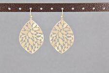 matte Gold leaf earrings teardrop dangle dangly lightweight filigree 2 inches