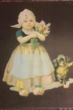 VINTAGE ANTIQUE VICTORIAN CHIMNEY FLUE COVER DUTCH GIRL & DOG