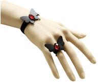 Bracelet femme + Bague Réglable Velours Noir Papillon à Strass Rouge Gothique