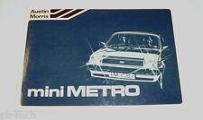 Betriebsanleitung Instructieboekje Austin Morris Mini Metro Stand 1980