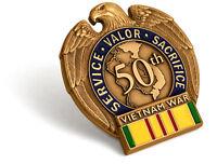 Vietnam War 50th Anniversary In-Theater Veteran Lapel Pin Service Medal Ribbon