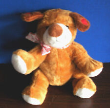 Goffa Int~Plush Golden Colored & Brown PUPPY  DOG~Hearts~Very Soft & Cuddly!