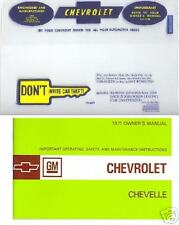 1971 71  CHEVROLET   CHEVELLE OWNER'S MANUAL & COVER