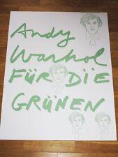 """ANDY WARHOL POSTER """" FÜR DIE GRÜNEN """" WAHLPLAKAT NEU IN MINT VINTAGE POPART"""