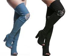 Bamboo Women's Chunky Heeled Knee High Peep Toe Jean Boots #Limelight-60