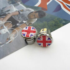 Retro Style Union Jack Chrome Racing Bar Plugs, Caps, Repro