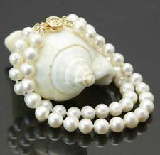 """Fashion 2Rows 7-8mm White Akoya Cultured Pearl Hand Knotted Bracelet 7.5"""""""