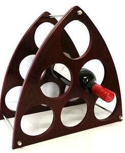 Triangular Wooden Wine Rack Stand 6 Bottle Organiser Holder for Home Bar HW683