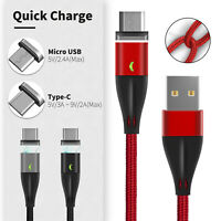 Magnetic Fast Charging Cable Micro USB Type C Data Transfer Braided Nylon Cable