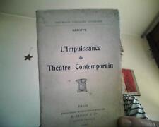HESOPPE  L' IMPUISSANCE du THEATRE CONTEMPORAIN  1912 (pamphlet)