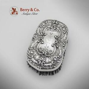 Floral Scroll Shell Repousse Brush Sterling Silver Gorham 1940