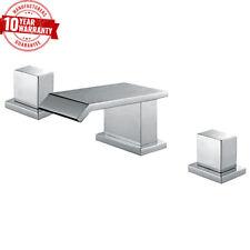 Moderno 3 agujero Cuadrado Cascada Cromo Grifo Mezclador de lavabo con una sola palanca lateral * q