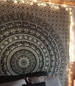 Black & White Indian Wall Hanging Cotton Tapestry Mandala Boho Hippie Bed Throw