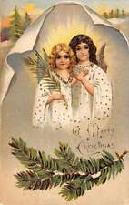 Merry Christmas Angels With Twigs Greeting Vintage Postcard K59594