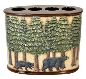 Bears in The Woods Pine Trees Forest Theme Toothbrush Holder