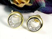 333 Gold Ohrstecker 9,2 mm mit gefaßten Zirkonia Steinen  1 Paar