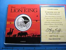 LION KING DISNEY 1994 CIRCLE OF LIFE 999 SILVER COIN RARE VERY SHARP CASE COA #C