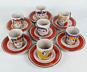 Set of 7 Desimone Italy Ceramic Hand Painted Espresso Cups & Saucers - Signed