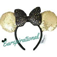 Disney Disneyland PARIS Stars Gold Black Sequins Is Magical Ears Headband ~ New